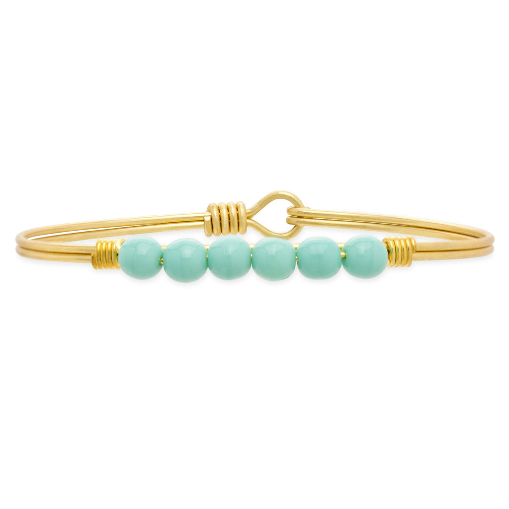 Crystal Pearl Bangle Bracelet In Turquoise
