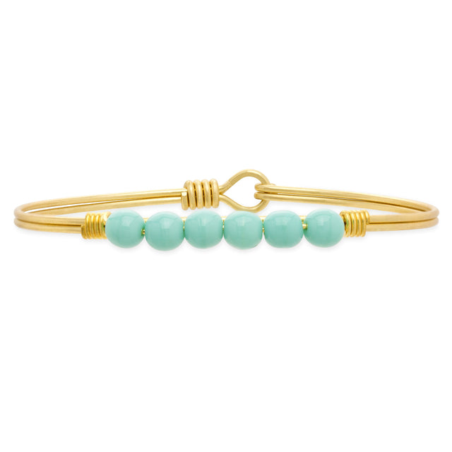 Crystal Pearl Bangle Bracelet In Turquoise-Bangle Bracelet-Regular-finish:Brass Tone-Luca + Danni