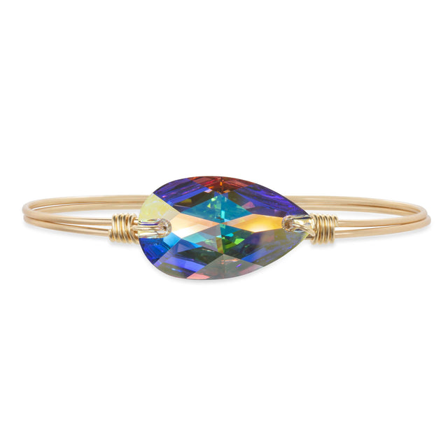 Teardrop Bangle Bracelet In Crystal AB finish:Brass Tone