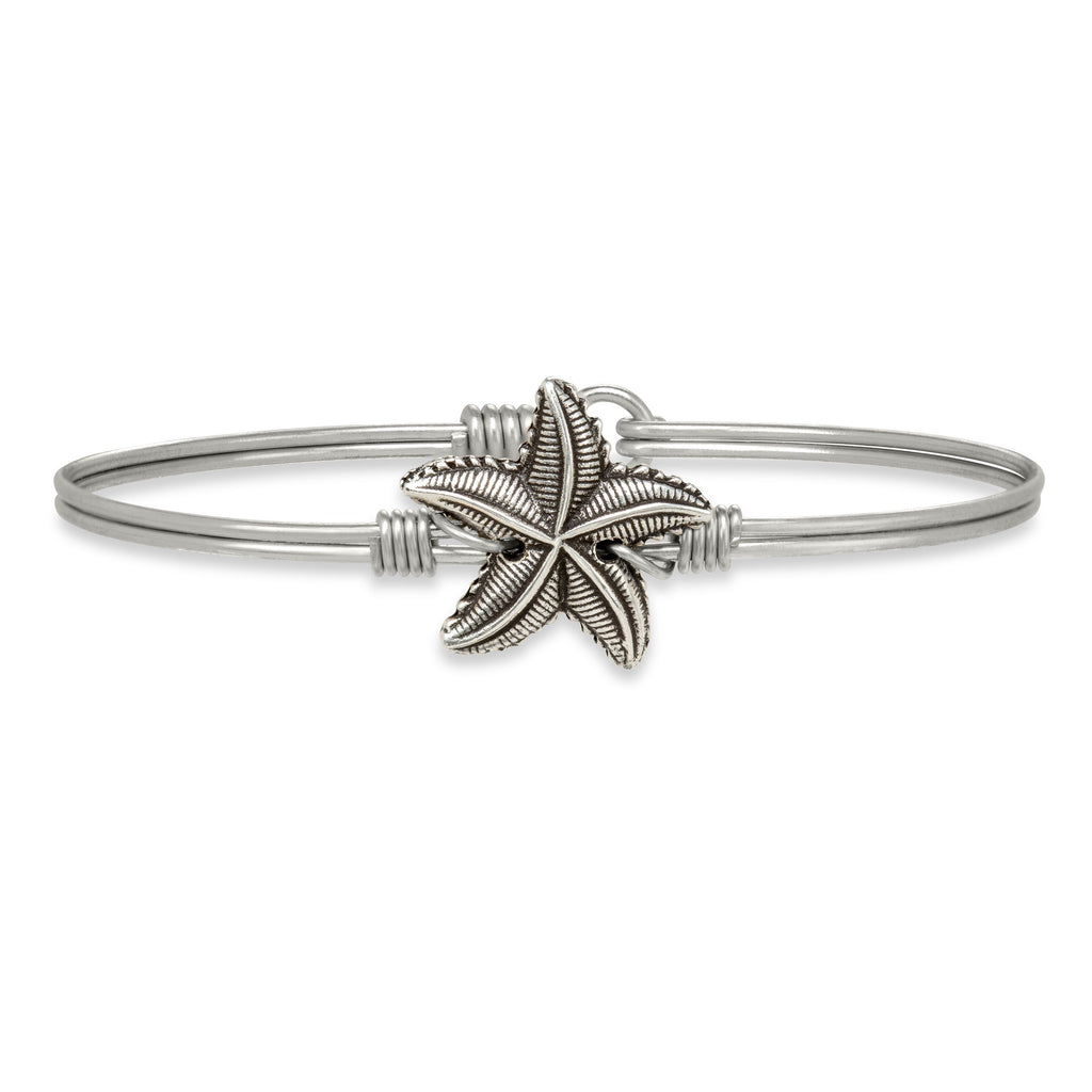 Starfish Bangle Bracelet choose finish:Silver Tone
