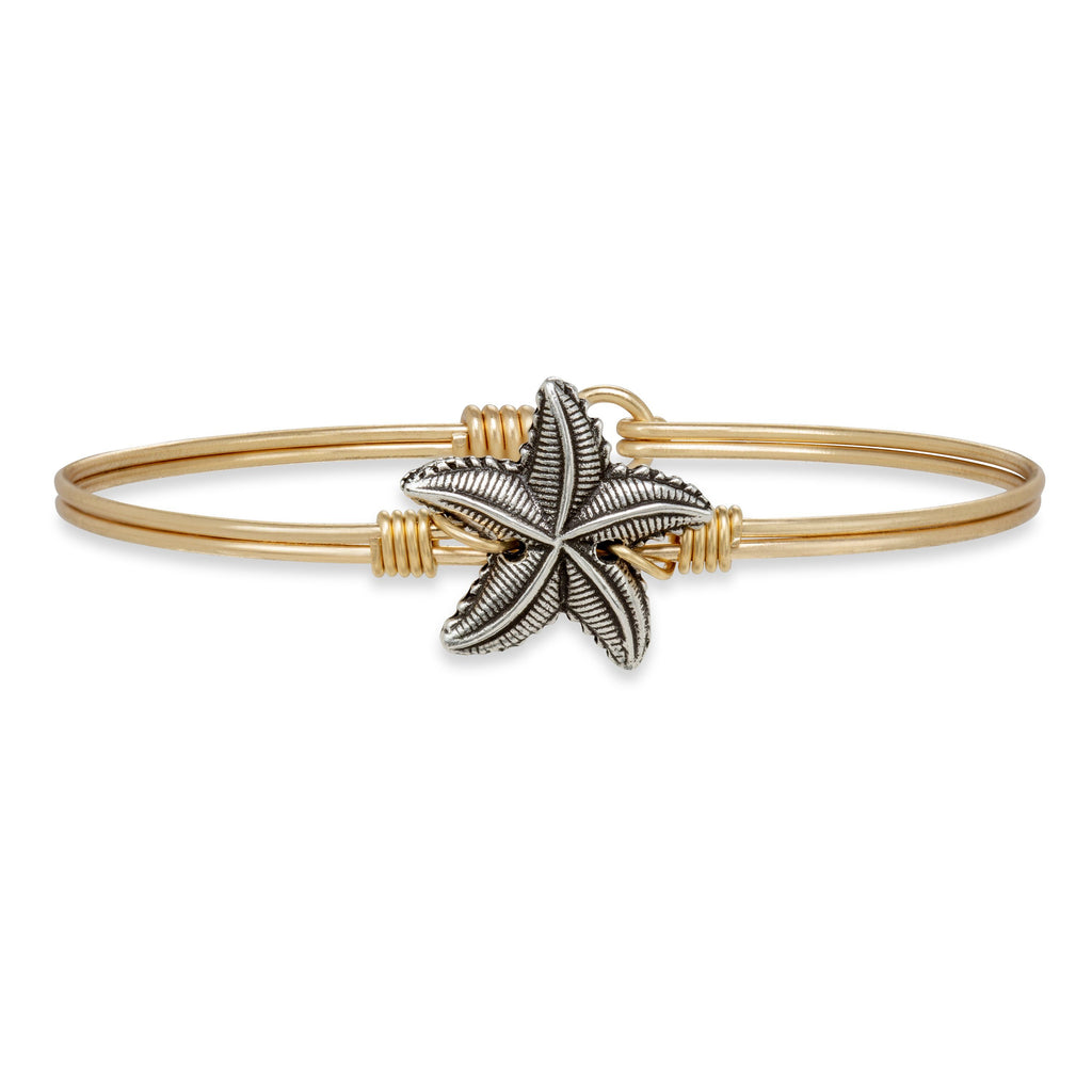 Starfish Bangle Bracelet choose finish:Brass Tone