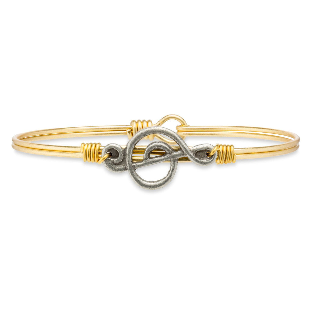 Treble Clef Bangle Bracelet-Bangle Bracelet-Regular-finish:Brass Tone-Luca + Danni