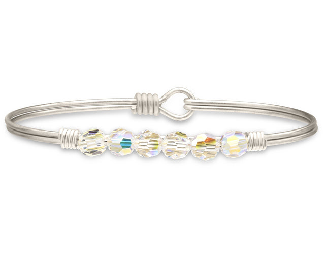 Zoey Bangle Bracelet In Crystal AB-Bangle Bracelet-Regular-finish:Silver Tone-Luca + Danni