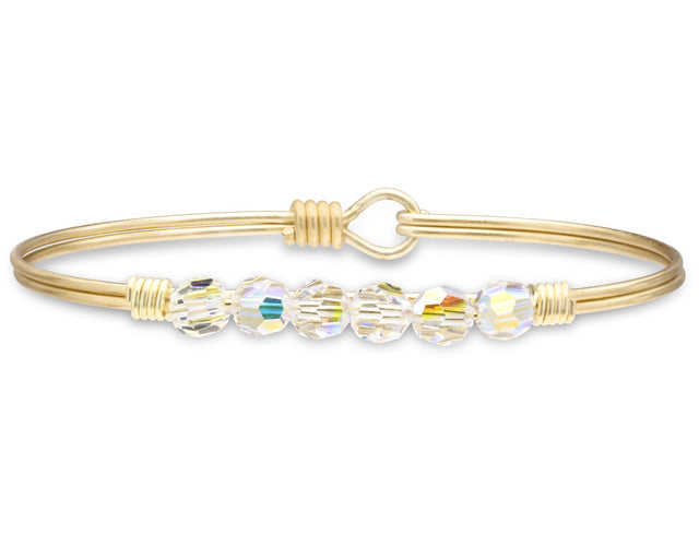 Zoey Bangle Bracelet In Crystal AB-Bangle Bracelet-Regular-finish:Brass Tone-Luca + Danni