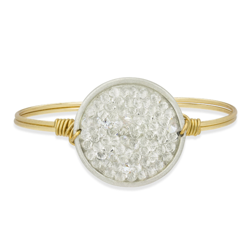 Druzy Bangle Bracelet In Crystal AB-Bangle Bracelet-Regular-finish:Brass Tone-Luca + Danni