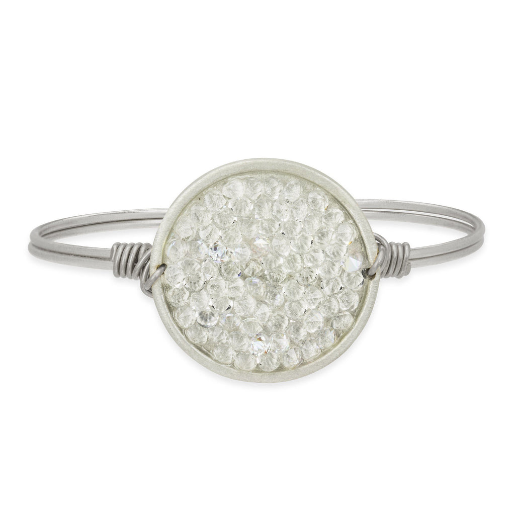 Druzy Bangle Bracelet In Crystal AB-Bangle Bracelet-Regular-finish:Silver Tone-Luca + Danni