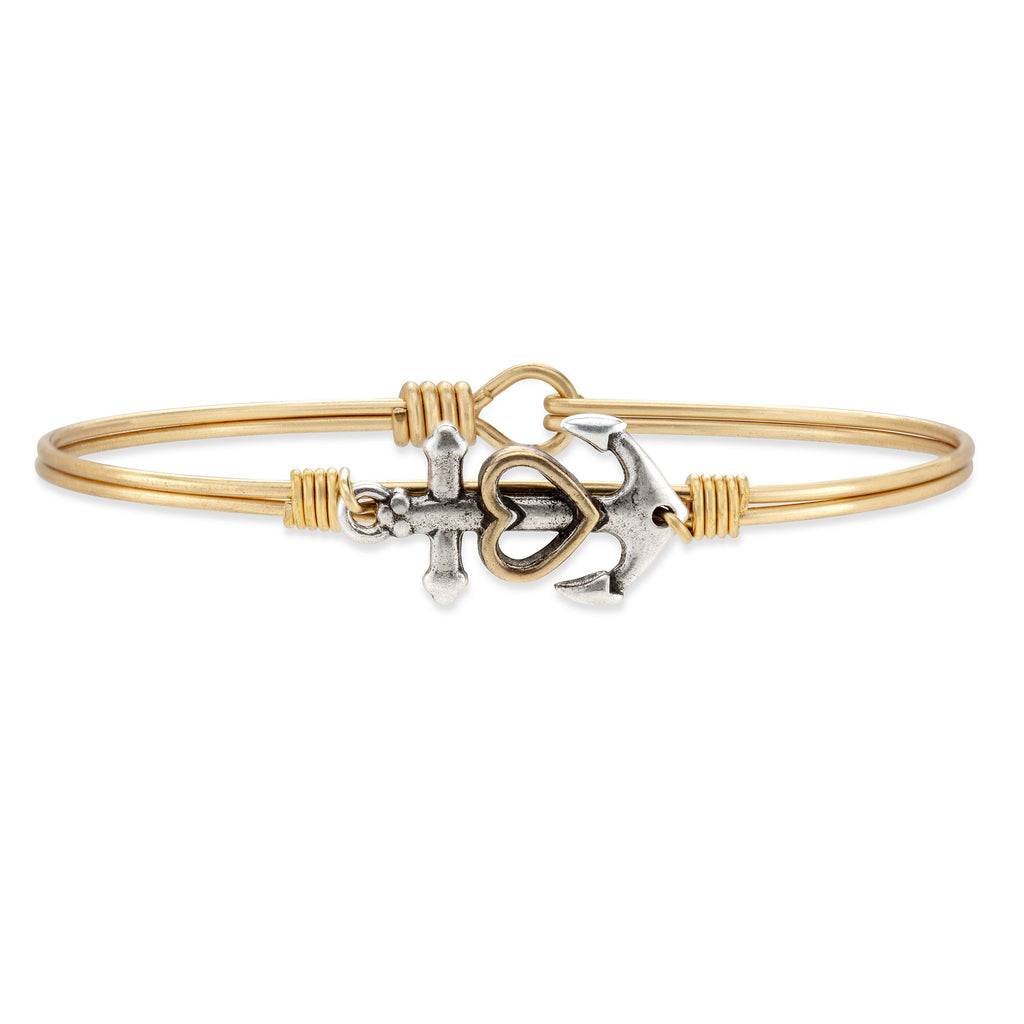 Anchor Bangle Bracelet choose finish:Brass Tone
