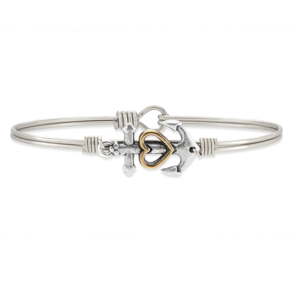 Anchor Bangle Bracelet choose finish:Silver Tone