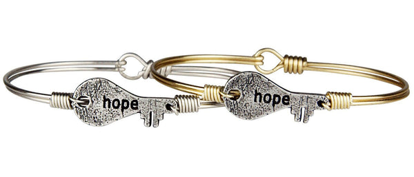 Hope Key Bangle in Oxidized and Silver