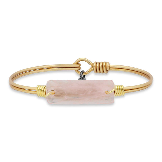 Hudson Bangle Bracelet In Rose Quartz-Bangle Bracelet-Petite-finish:Brass Tone-Luca + Danni