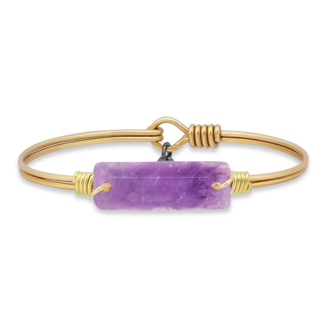 Hudson Bangle Bracelet In Dogtooth Amethyst-Bangle Bracelet-Petite-finish:Brass Tone-Luca + Danni