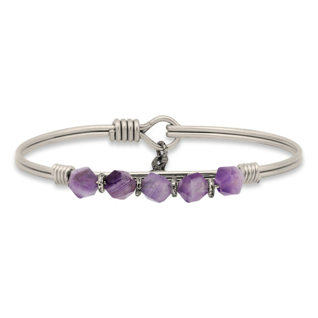 Beaded Bangle Bracelet In Dogtooth Amethyst-Bangle Bracelet-Regular-finish:Silver Tone-Luca + Danni