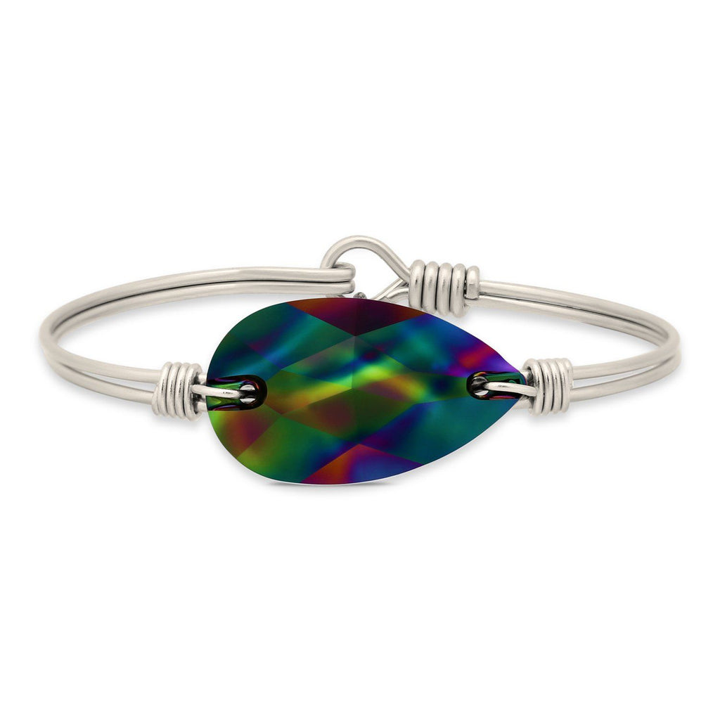 Teardrop Bangle Bracelet in Jet Rainbow finish:Silver Tone