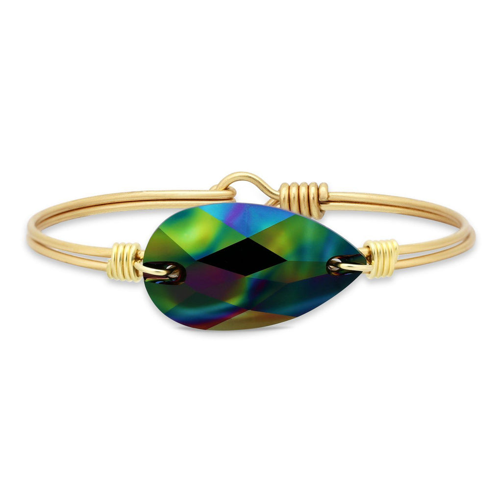 Teardrop Bangle Bracelet in Jet Rainbow finish:Brass Tone