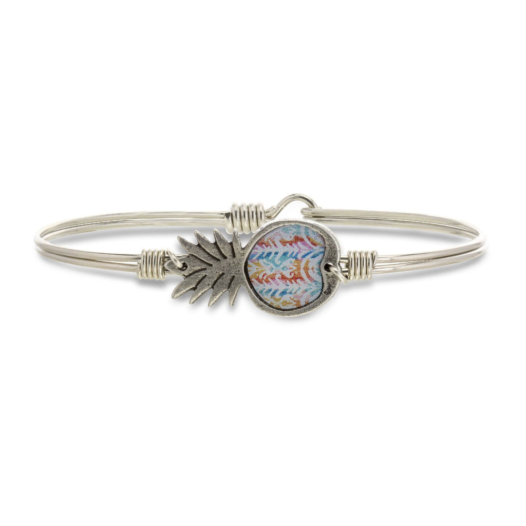Tie Dye Pineapple Bangle Bracelet-Bangle Bracelet-Regular-finish:Silver Tone-Luca + Danni