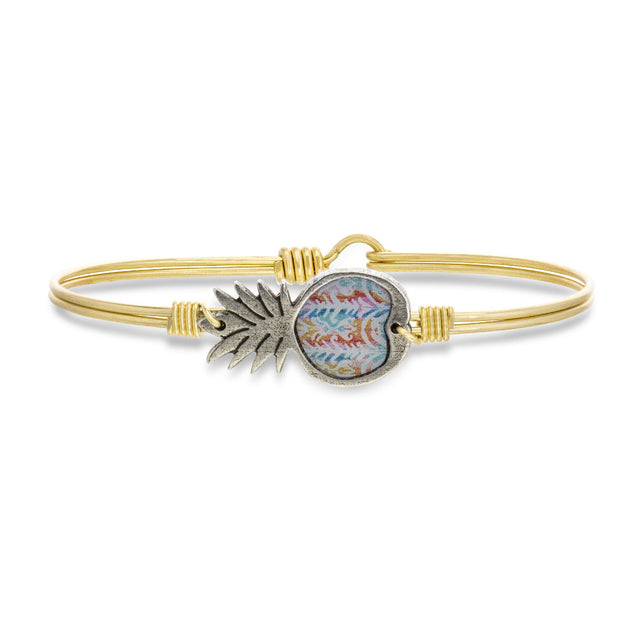 Tie Dye Pineapple Bangle Bracelet-Bangle Bracelet-Regular-finish:Brass Tone-Luca + Danni