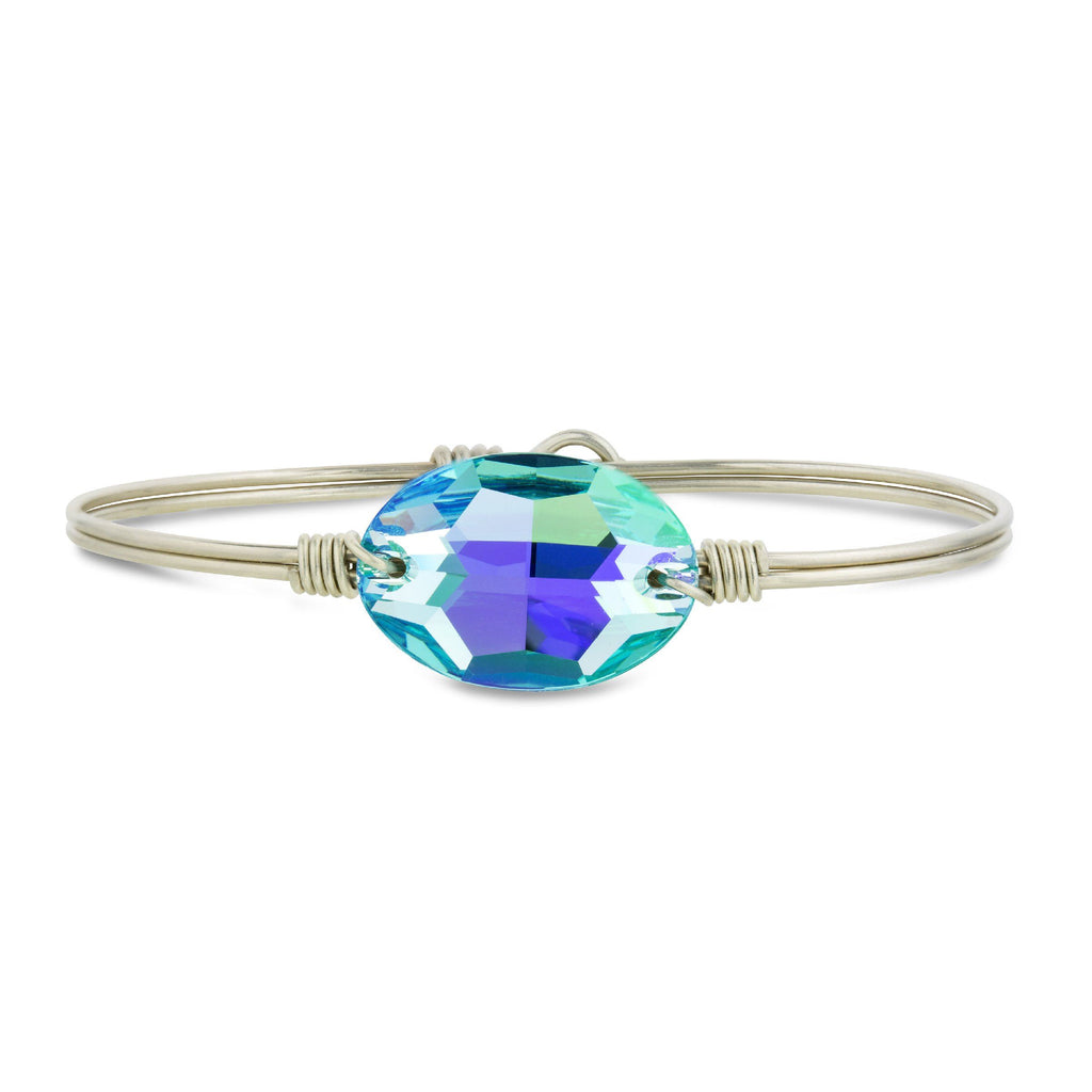 Ophelia Bangle Bracelet in Arctic Blue finish:Silver Tone