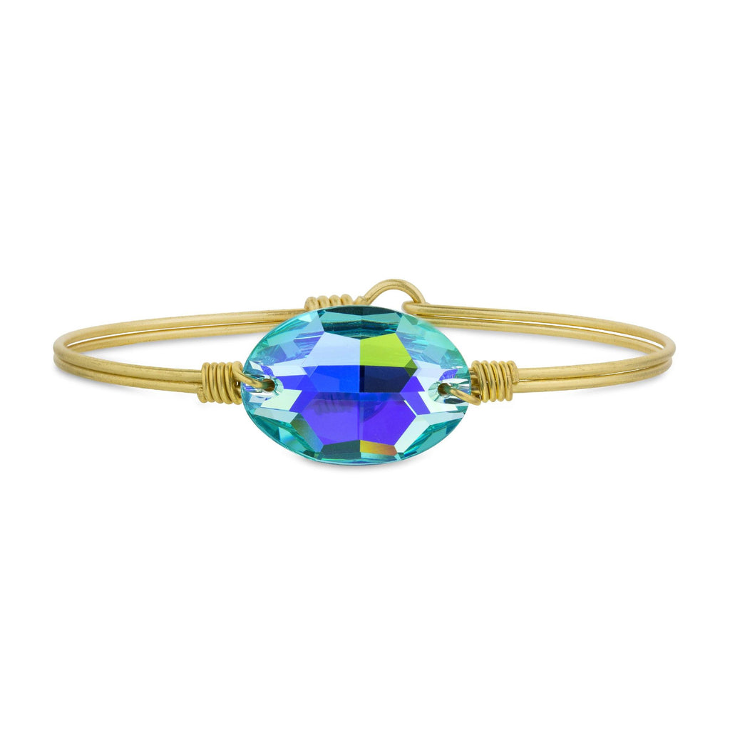 Ophelia Bangle Bracelet in Arctic Blue finish:Brass Tone
