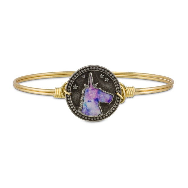 Tie Dye Unicorn Bangle Bracelet-Bangle Bracelet-Regular-finish:Brass Tone-Luca + Danni