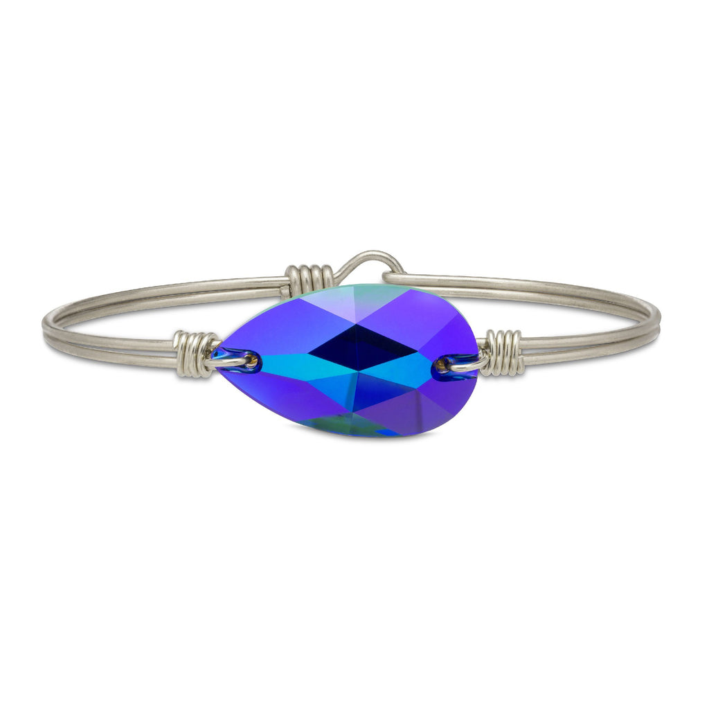Teardrop Bangle Bracelet In Metallic Cobalt finish:Silver Tone
