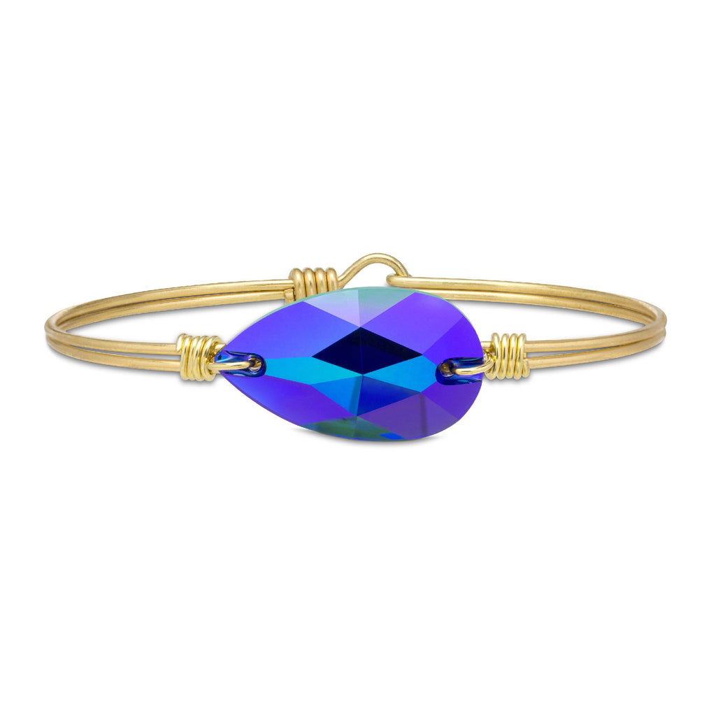 Teardrop Bangle Bracelet In Metallic Cobalt finish:Brass Tone