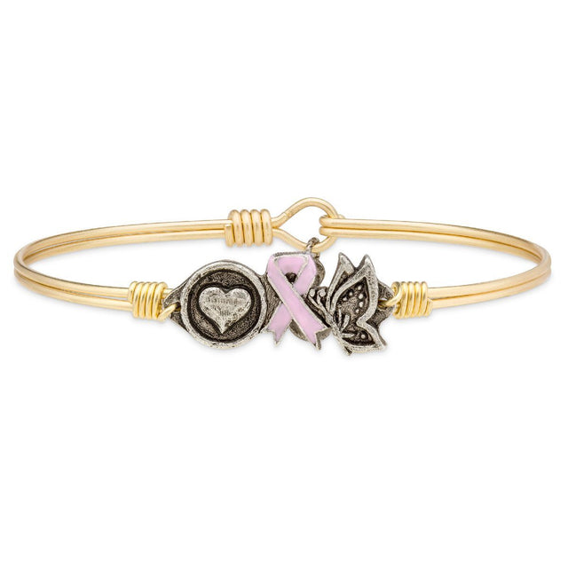 Love, Hope, Life Breast Cancer Awareness Bangle Bracelet-Bangle Bracelet-Regular-finish:Brass Tone-Luca + Danni