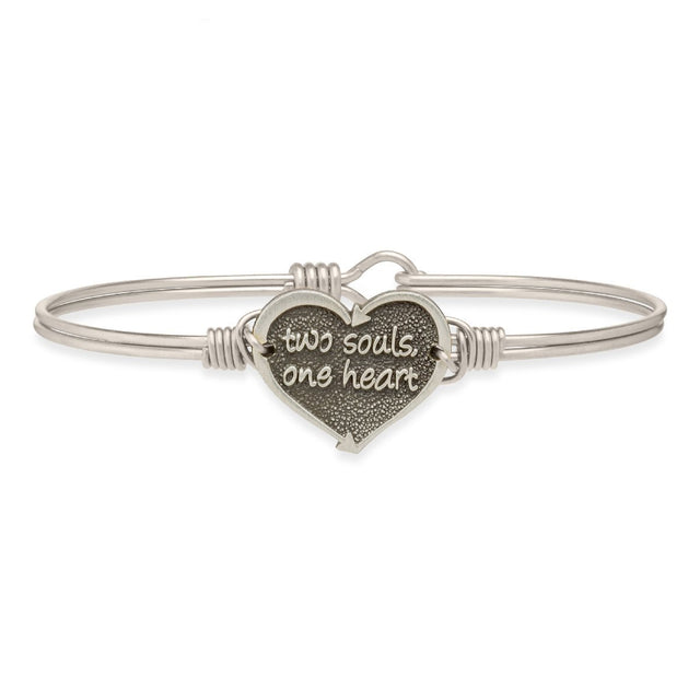 One Heart Bangle Bracelet-Bangle Bracelet-Regular-finish:Silver Tone-Luca + Danni