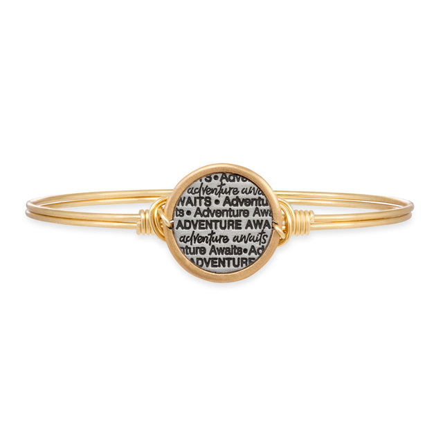 Adventure Awaits Bangle Bracelet-Bangle Bracelet-Regular-finish:Brass Tone-Luca + Danni