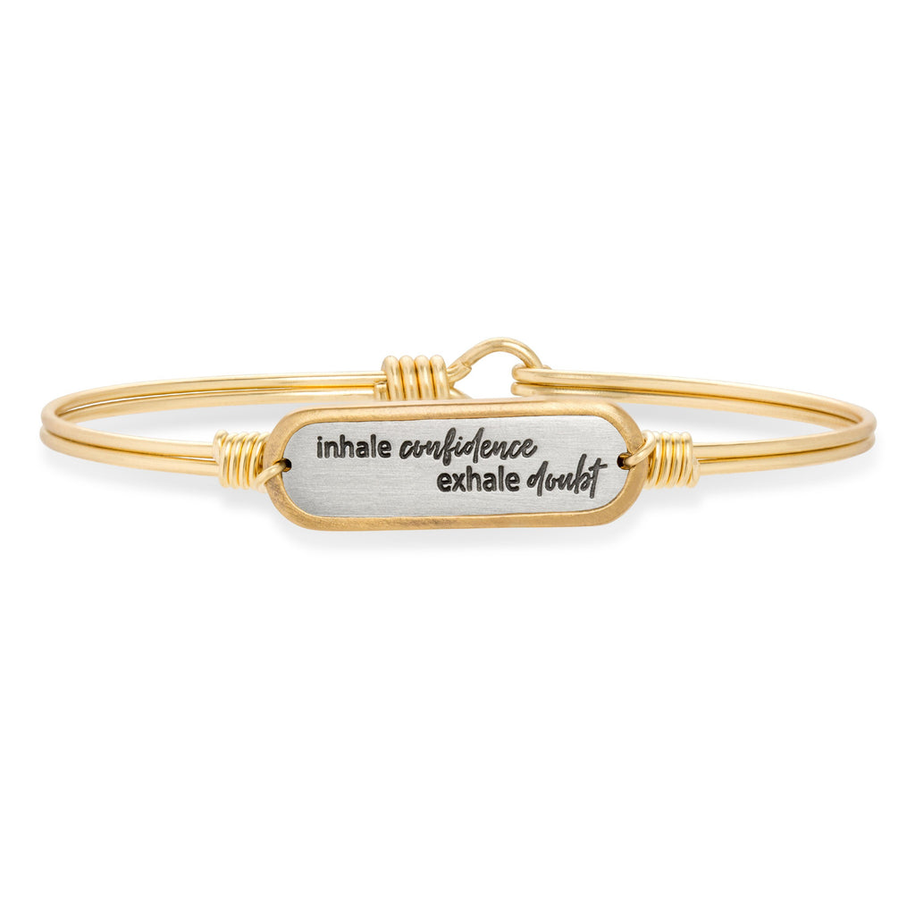 Inhale Confidence Bangle Bracelet-Bangle Bracelet-Regular-finish:Brass Tone-Luca + Danni