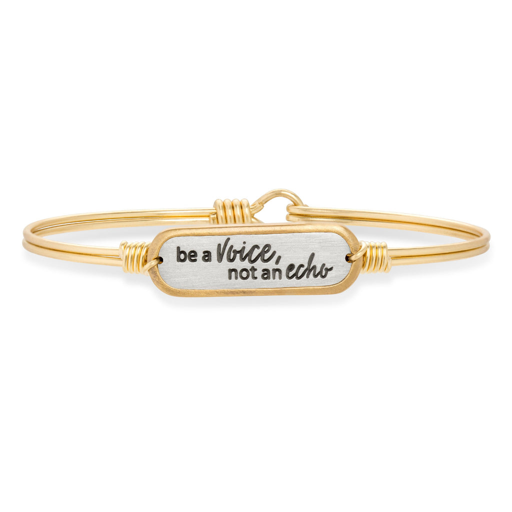 Be a Voice Bangle Bracelet-Bangle Bracelet-Regular-finish:Brass Tone-Luca + Danni