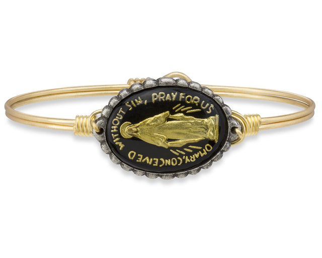 Mother Mary Intaglio Bangle Bracelet in Black-Bangle Bracelet-Regular-finish:Brass Tone-Luca + Danni