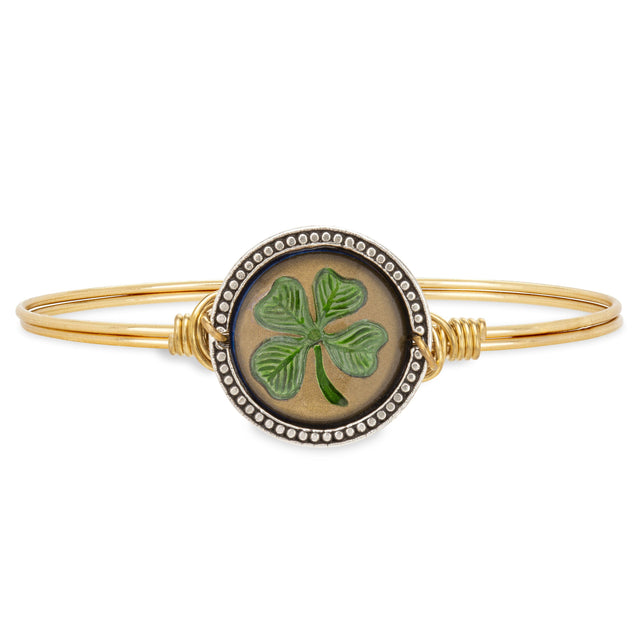 Four Leaf Clover Intaglio Bangle Bracelet-Bangle Bracelet-Regular-finish:Brass Tone-Luca + Danni