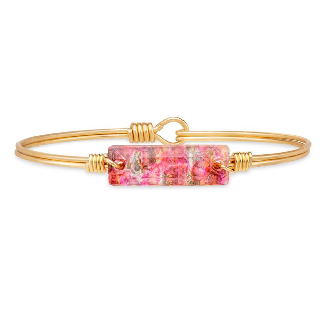 Hudson Bangle Bracelet in Pink Graffiti finish:Brass Tone