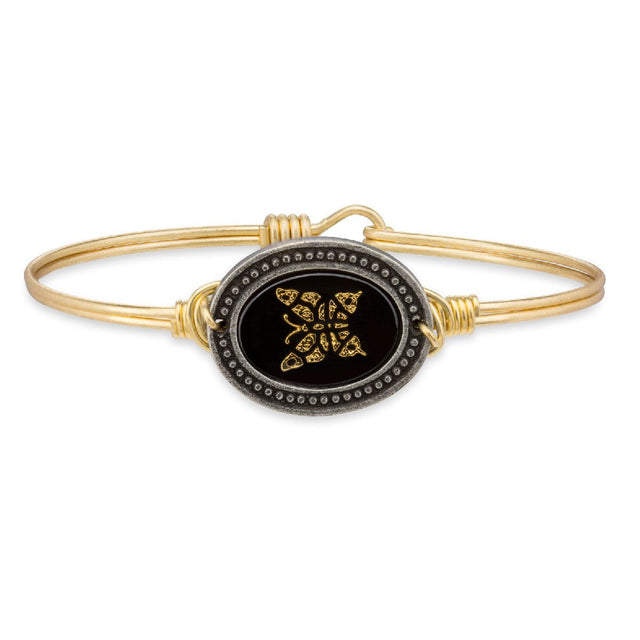 Golden Butterfly Cameo Bangle Bracelet
