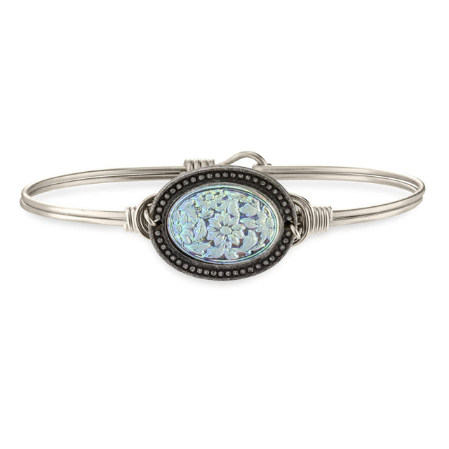 Flower Cameo Bangle Bracelet