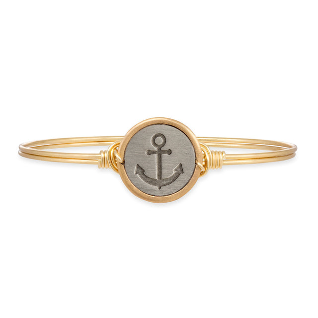 Stay Anchored Bangle Bracelet-Bangle Bracelet-Regular-finish:Brass Tone-Luca + Danni