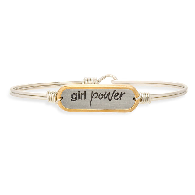 Girl Power Bangle Bracelet-Bangle Bracelet-Regular-finish:Silver Tone-Luca + Danni