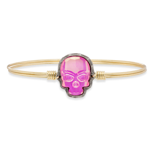 Sugar Skull in Ultra Pink Aurora Borealis Finish:Brass Tone