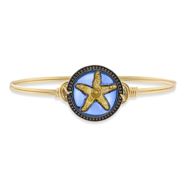 Starfish Intaglio Bangle Bracelet-Bangle Bracelet-Regular-finish:Brass Tone-Luca + Danni