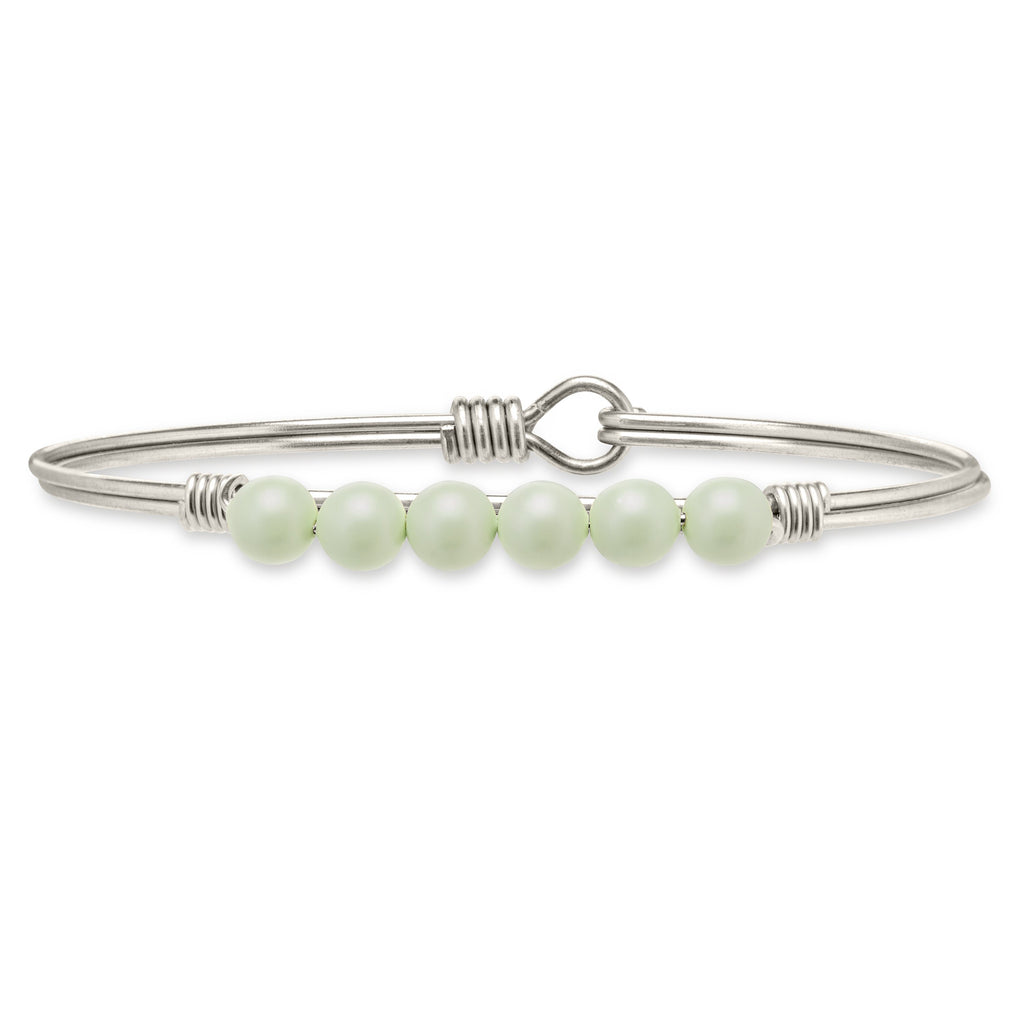 Crystal Pearl Bangle Bracelet in Pistachio-Bangle Bracelet-Regular-finish:Silver Tone-Luca + Danni