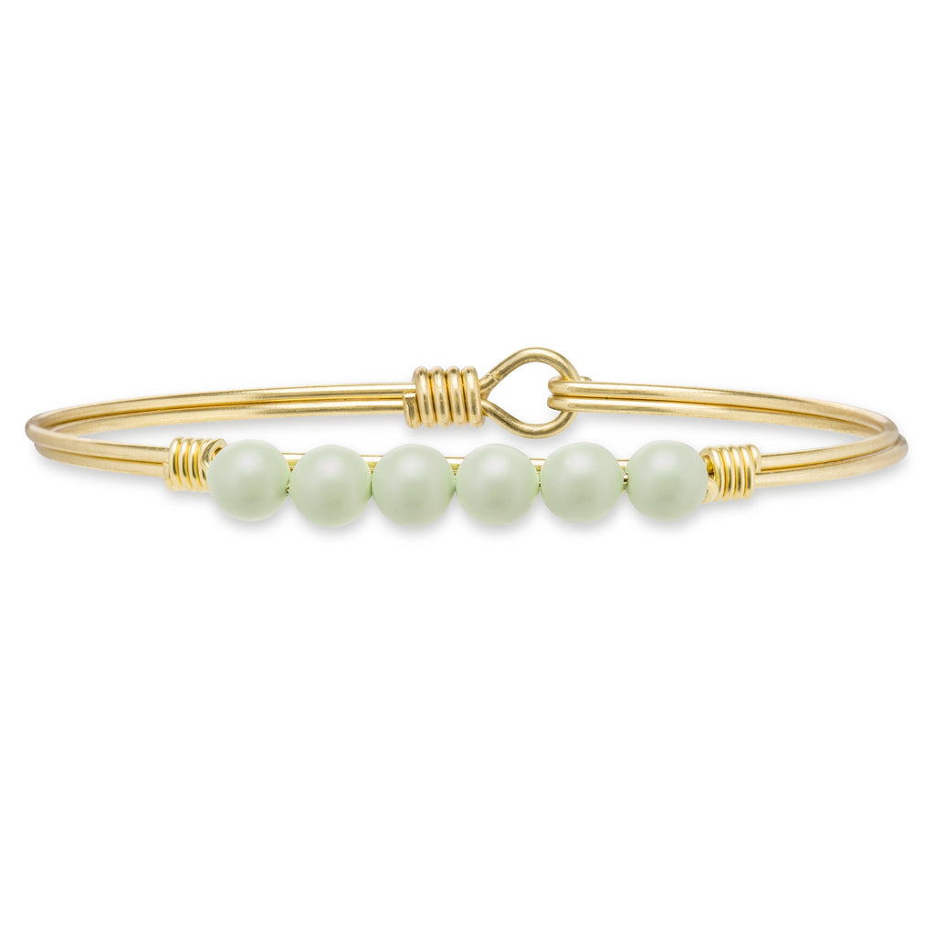Crystal Pearl Bangle Bracelet in Pistachio-Bangle Bracelet-Regular-finish:Brass Tone-Luca + Danni