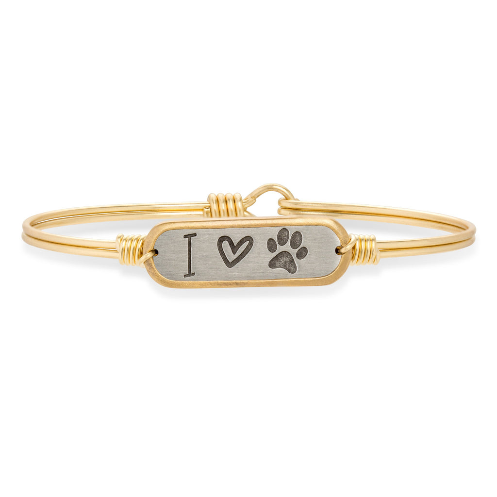 I Love Paw Print Bangle Bracelet choose finish:Brass Tone