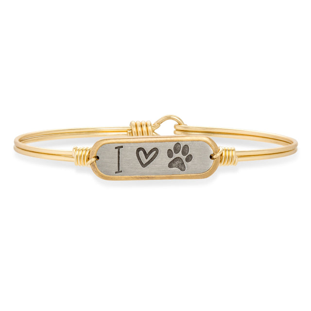 I Love Paw Print Bangle Bracelet-Bangle Bracelet-Regular-finish:Brass Tone-Luca + Danni