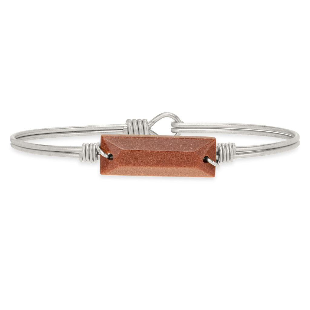 Hudson Bangle Bracelet in Goldstone-Bangle Bracelet-Petite-finish:Silver Tone-Luca + Danni