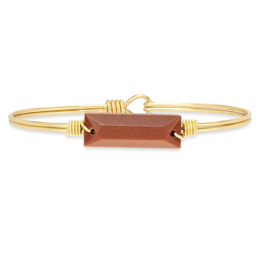 Hudson Bangle Bracelet in Goldstone-Bangle Bracelet-Petite-finish:Brass Tone-Luca + Danni