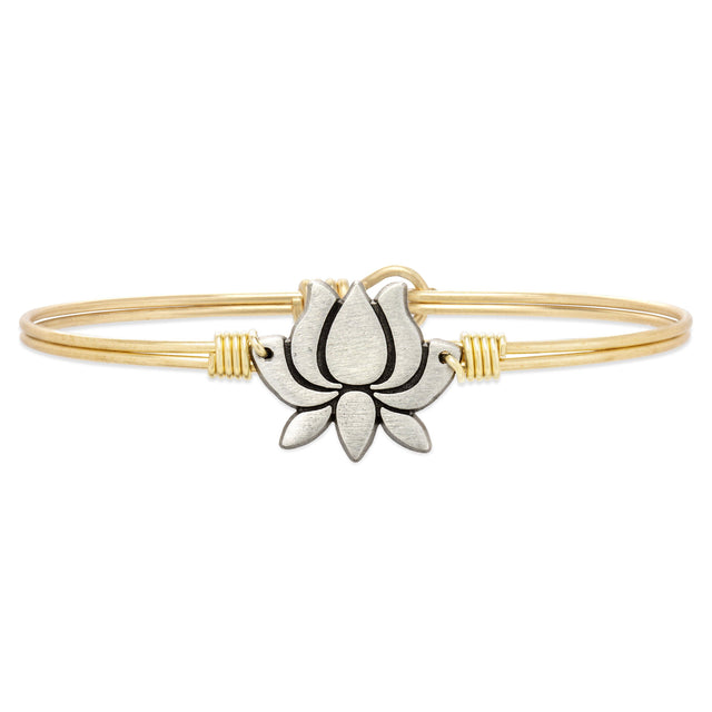 Lotus Flower Bangle Bracelet-Bangle Bracelet-Petite-finish:Brass Tone-Luca + Danni
