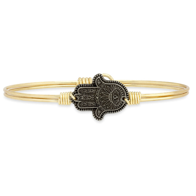 Hamsa Hand Bangle Bracelet-Bangle Bracelet-Regular-finish:Brass Tone-Luca + Danni