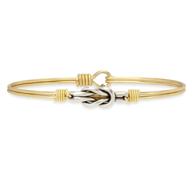 Love Knot Bangle Bracelet-Bangle Bracelet-Petite-finish:Brass Tone-Luca + Danni