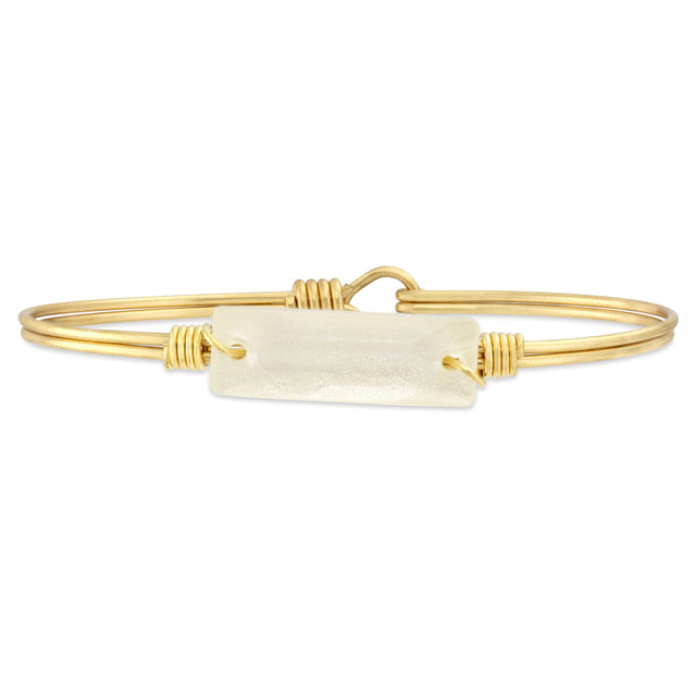 Frosted White Hudson Bangle Bracelet finish:Brass Tone