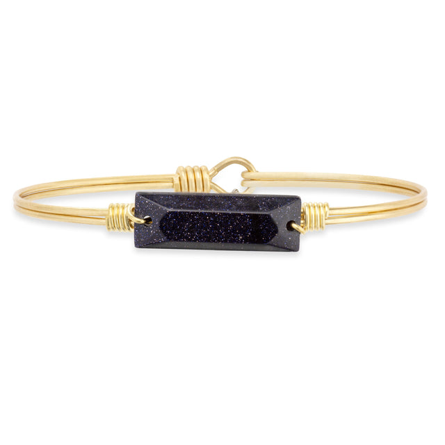 Blue Goldstone Hudson Bangle Bracelet finish:Brass Tone